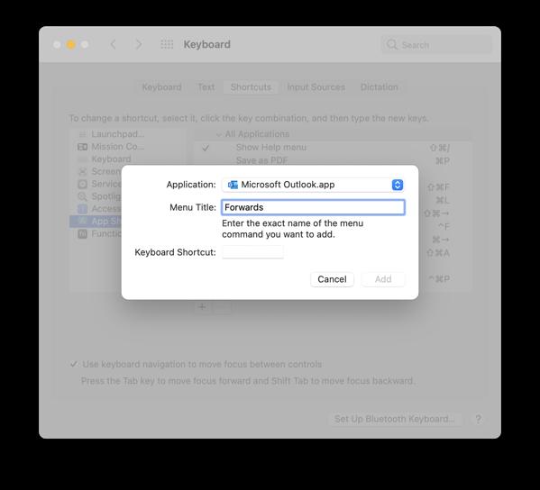 macOs menu keyboard shortcuts